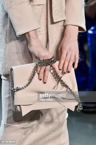 A model bag detail walks the runway at Chiara Boni La Petite Robe show during New York Fashion Week at Gallery II at Spring Studios on February 13...