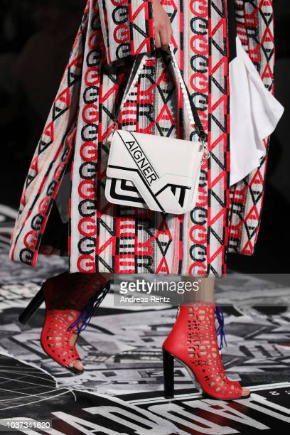 A model bag detail walks the runway at the Aigner show during Milan Fashion Week Spring/Summer 2019 on September 21 2018 in Milan Italy