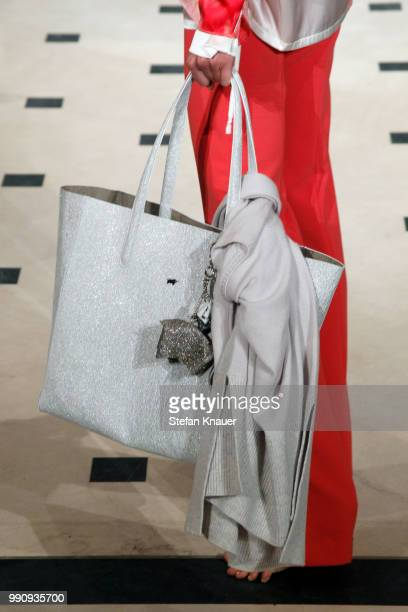 A model bag detail walks the runway at the Anja Gockel show during the Berlin Fashion Week Spring/Summer 2019 at Hotel Adlon on July 3 2018 in Berlin...