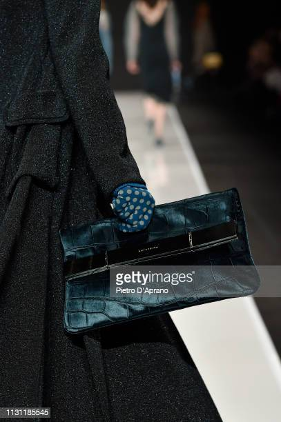 A model bag detail walks the runway at the Anteprima show at Milan Fashion Week Autumn/Winter 2019/20 on February 21 2019 in Milan Italy