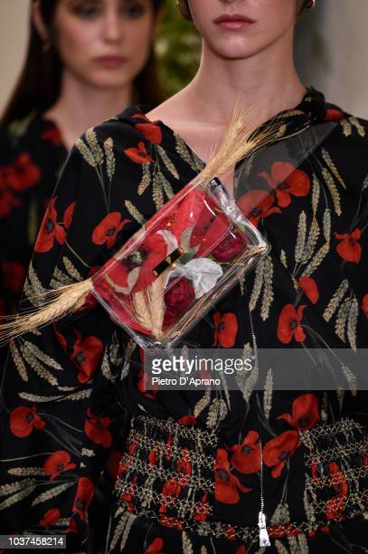 A model bag detail walks the runway at the Antonio Croce show during Milan Fashion Week Spring/Summer 2019 on September 21 2018 in Milan Italy