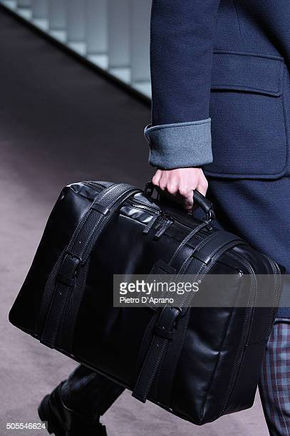 A model bag detail walks the runway at the Canali show during Milan Men's Fashion Week Fall/Winter 2016/17 on January 18 2016 in Milan Italy