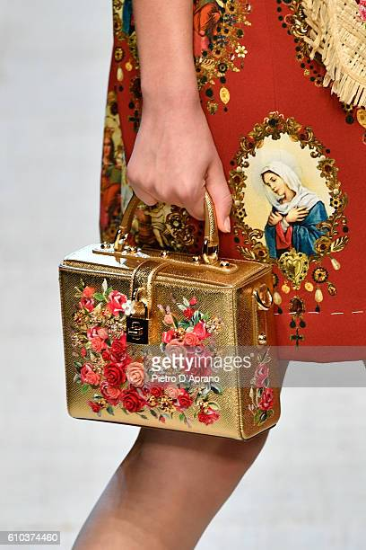 A model bag detail walks the runway at the Dolce And Gabbana show during Milan Fashion Week Spring/Summer 2017 on September 25 2016 in Milan Italy