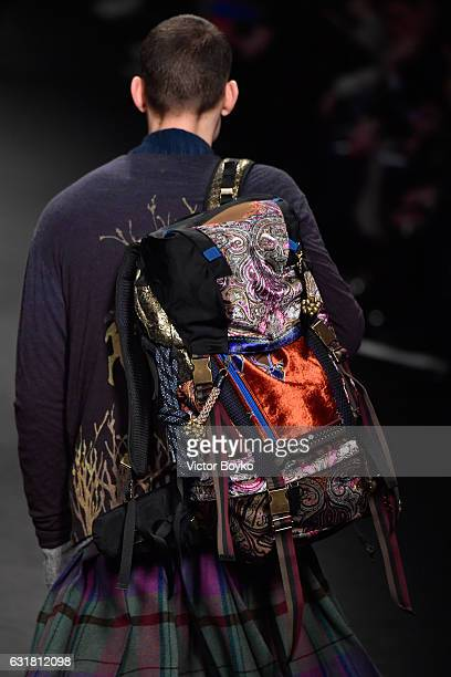 A model bag detail walks the runway at the Etro show during Milan Men's Fashion Week Fall/Winter 2017/18 on January 16 2017 in Milan Italy