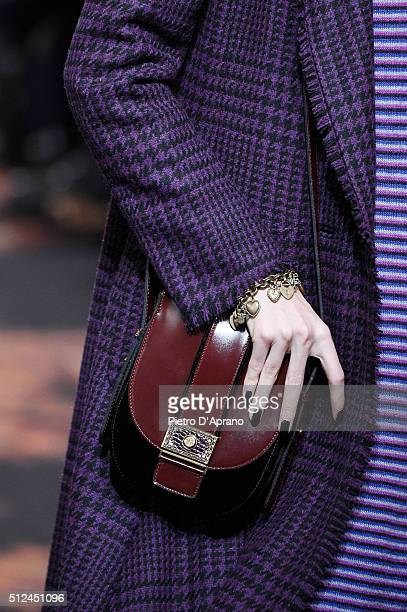 A model bag detail walks the runway at the Etro show during Milan Fashion Week Fall/Winter 2016/17 on February 26 2016 in Milan Italy