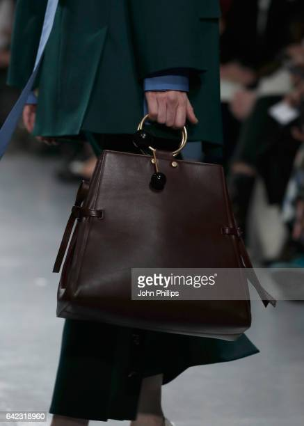 A model bag detail walks the runway at the Eudon Choi show during the London Fashion Week February 2017 collections on February 17 2017 in London...