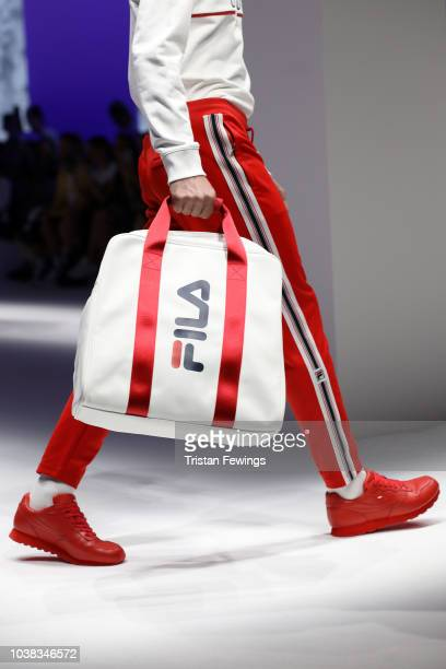 A model bag detail walks the runway at the Fila show during Milan Fashion Week Spring/Summer 2019 on September 23 2018 in Milan Italy