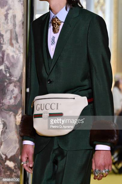 A model bag detail walks the runway at the Gucci Cruise 2018 show at Palazzo Pitti on May 29 2017 in Florence Italy