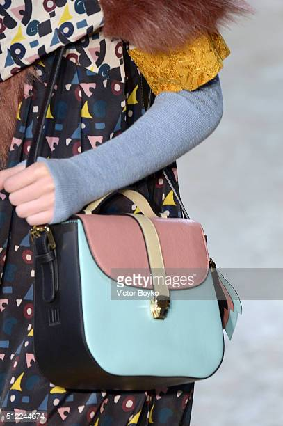 A model bag detail walks the runway at the I'M Isola Marras show during Milan Fashion Week Fall/Winter 2016/17 on February 25 2016 in Milan Italy