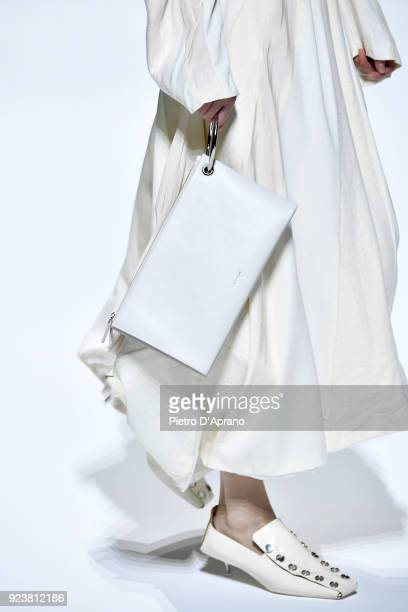 A model bag detail walks the runway at the Jil Sander show during Milan Fashion Week Fall/Winter 2018/19 on February 24 2018 in Milan Italy