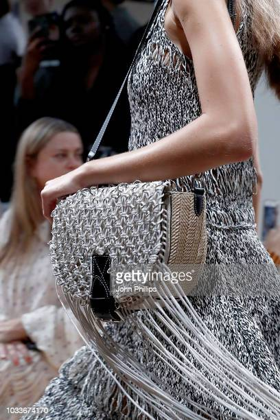 A model bag detail walks the runway at the JW Anderson show during London Fashion Week September 2018 on September 15 2018 in London England