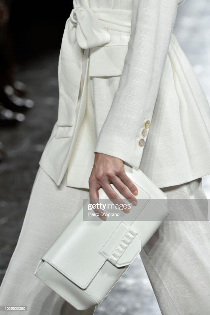 A model bag detail walks the runway at the Luisa Spagnoli show during Milan Fashion Week Spring/Summer 2019 on September 18 2018 in Milan Italy