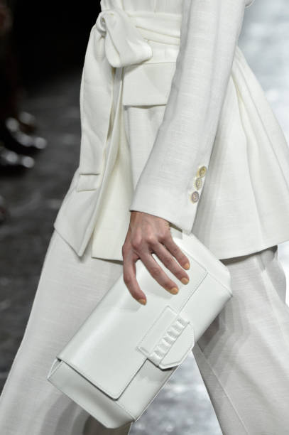 A model bag detail walks the runway at the Luisa Spagnoli show during Milan Fashion Week Spring/Summer 2019 on September 18 2018 in Milan Italy