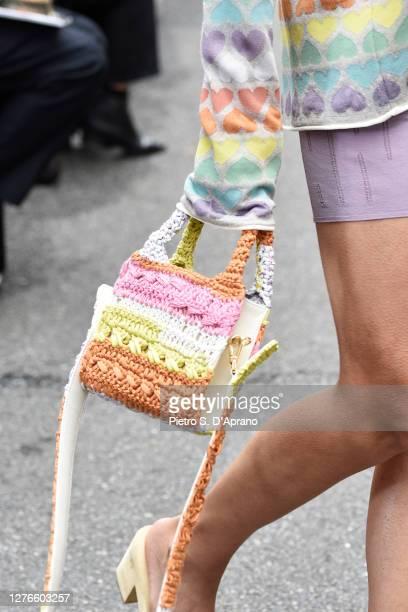 Model, bag detail, walks the runway at the Marco Rambaldi fashion show during the Milan Women's Fashion Week on September 25, 2020 in Milan, Italy.