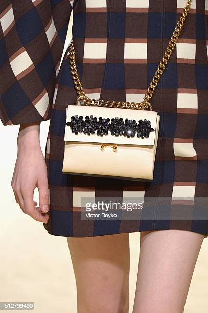 A model bag detail walks the runway at the Marni show during Milan Fashion Week Fall/Winter 2016/17 on February 28 2016 in Milan Italy