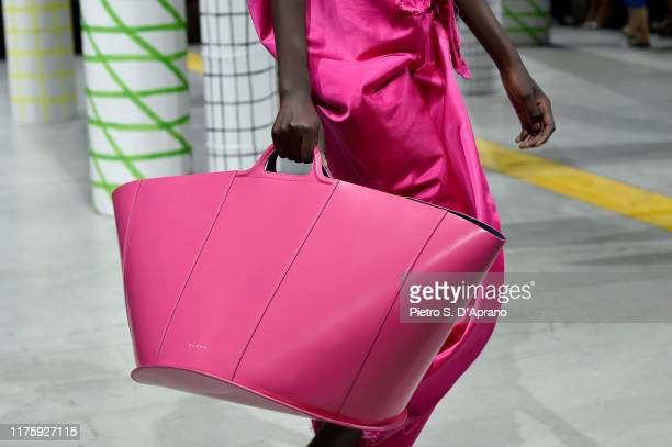 Model, bag detail, walks the runway at the Marni show on on September 20, 2019 in Milan, Italy.