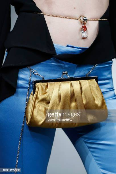 A model bag detail walks the runway at the Marta Jakubowski Showduring London Fashion Week September 2018 on September 14 2018 in London England