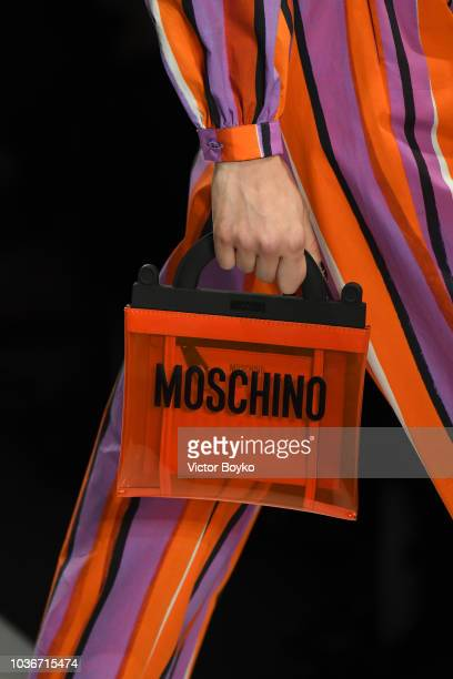A model bag detail walks the runway at the Moschino show during Milan Fashion Week Spring/Summer 2019 on September 20 2018 in Milan Italy
