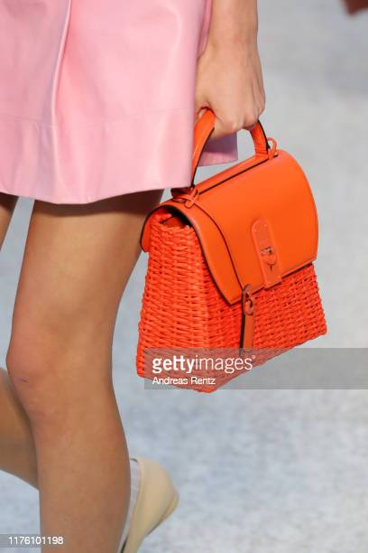 Model, bag detail, walks the runway at the Salvatore Ferragamo show during the Milan Fashion Week Spring/Summer 2020 on September 21, 2019 in Milan,...
