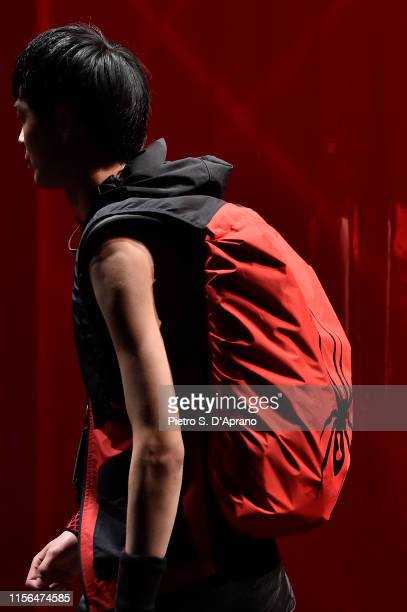 A model bag detail walks the runway at the Spyder fashion show during the Milan Men's Fashion Week Spring/Summer 2020 on June 17 2019 in Milan Italy