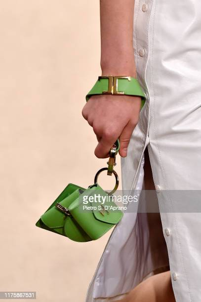 Model, bag detail, walks the runway at the Tod's show during the Milan Fashion Week Spring/Summer 2020 on September 20, 2019 in Milan, Italy.