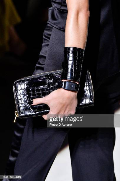 Model, bag detail, walks the runway at the Tom Ford show at Park Avenue Armory on September 5, 2018 in New York City.