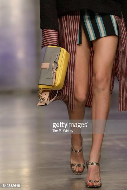 A model bag detail walks the runway at the Topshop Unique show during the London Fashion Week February 2017 collections on February 19 2017 in London...