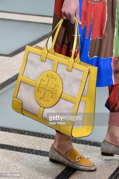 Model, bag detail, walks the runway at the Tory Burch Ready to Wear Spring/Summer 2020 fashion show during New York Fashion Week on September 08,...