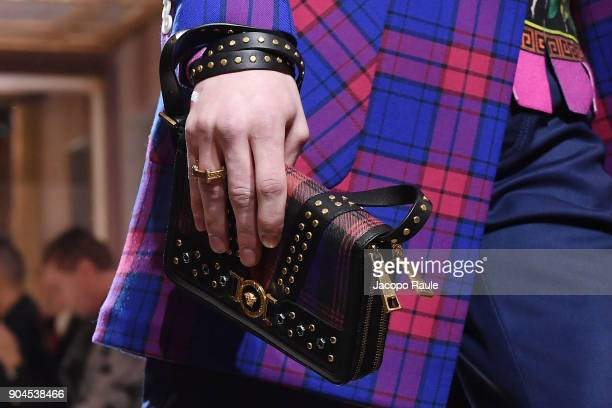 A model bag detail walks the runway at the Versace show during Milan Men's Fashion Week Fall/Winter 2018/19 on January 13 2018 in Milan Italy