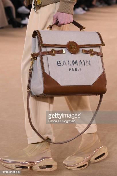 A model bag detail walks the runway during the Balmain Menswear Fall/Winter 20202021 show as part of Paris Fashion Week on January 17 2020 in Paris...
