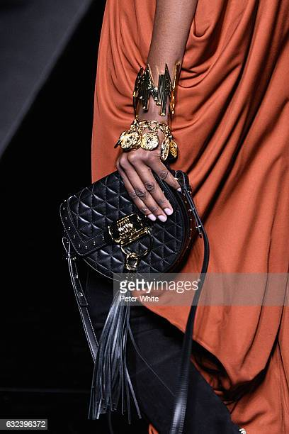 A model bag detail walks the runway during the Balmain Menswear Fall/Winter 20172018 show as part of Paris Fashion Week on January 21 2017 in Paris...