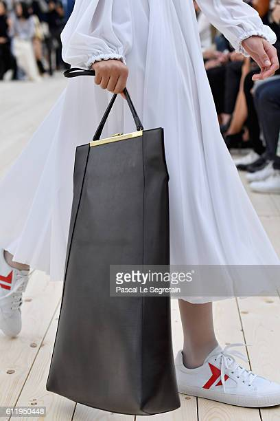 A model bag detail walks the runway during the Celine show as part of the Paris Fashion Week Womenswear Spring/Summer 2017 on October 2 2016 in Paris...