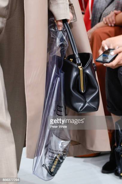 A model bag detail walks the runway during the Celine show as part of the Paris Fashion Week Womenswear Spring/Summer 2018 on October 1 2017 in Paris...