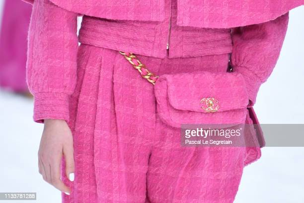 A model bag detail walks the runway during the Chanel show as part of the Paris Fashion Week Womenswear Fall/Winter 2019/2020 on March 05 2019 in...