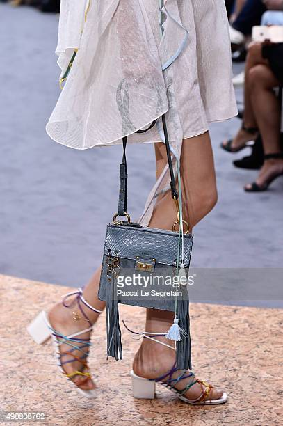 A model bag detail walks the runway during the Chloe show as part of the Paris Fashion Week Womenswear Spring/Summer 2016 on October 1 2015 in Paris...