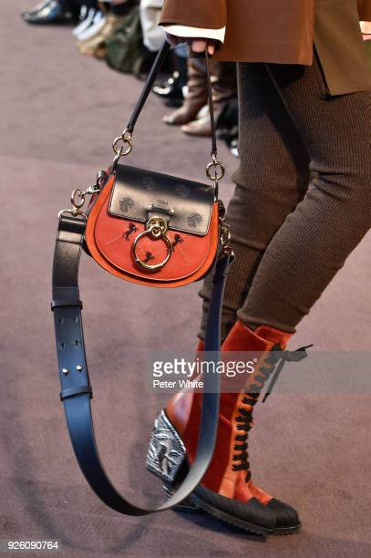 A model bag detail walks the runway during the Chloe show as part of the Paris Fashion Week Womenswear Fall/Winter 2018/2019 on March 1 2018 in Paris...