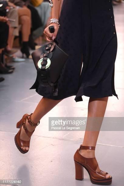 Model, bag detail walks the runway during the Chloe Womenswear Spring/Summer 2020 show as part of Paris Fashion Week on September 26, 2019 in Paris,...