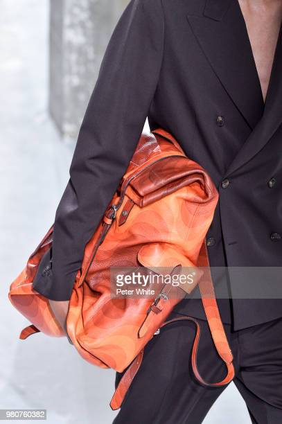 A model bag detail walks the runway during the Dries Van Noten Menswear Spring/Summer 2019 show as part of Paris Fashion Week on June 21 2018 in...