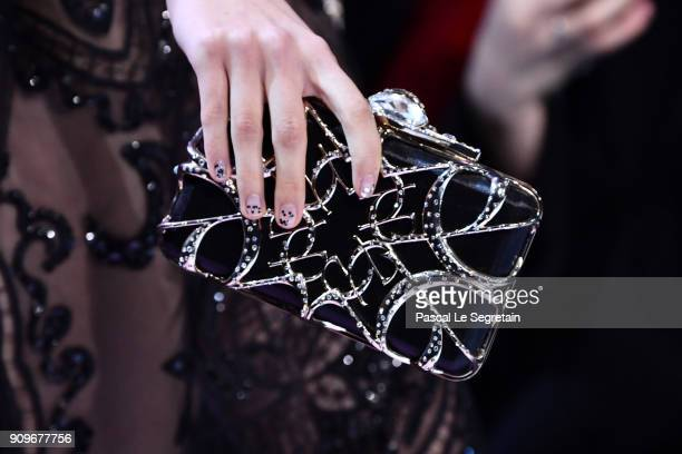 A model bag detail walks the runway during the Elie Saab Spring Summer 2018 show as part of Paris Fashion Week on January 24 2018 in Paris France