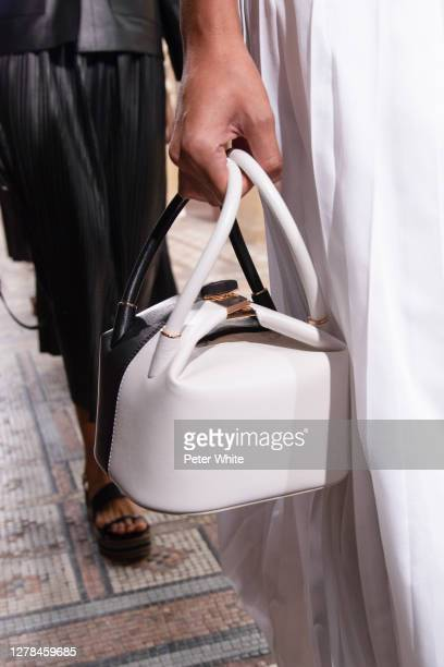 Model, bag detail, walks the runway during the Gabriela Hearst Womenswear Spring/Summer 2021 show as part of Paris Fashion Week on October 04, 2020...