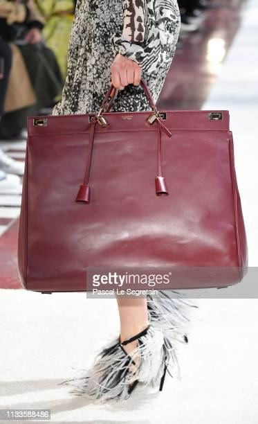 Model, bag detail, walks the runway during the Giambattista Valli show as part of the Paris Fashion Week Womenswear Fall/Winter 2019/2020 on March...