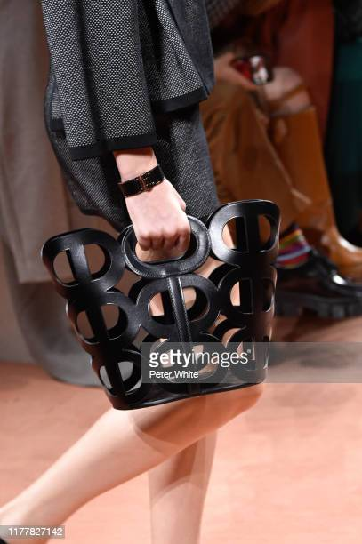 Model, bag detail, walks the runway during the Hermes Womenswear Spring/Summer 2020 show as part of Paris Fashion Week on September 28, 2019 in...