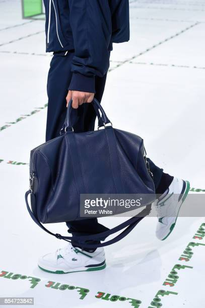 A model bag detail walks the runway during the Lacoste show as part of the Paris Fashion Week Womenswear Spring/Summer 2018 on September 27 2017 in...