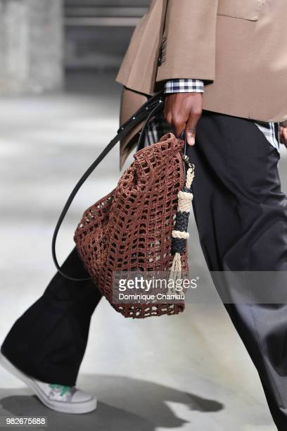 A model bag detail walks the runway during the Lanvin Menswear Spring/Summer 2019 show as part of Paris Fashion Week on June 24 2018 in Paris France