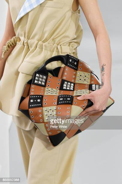 A model bag detail walks the runway during the Loewe show as part of the Paris Fashion Week Womenswear Spring/Summer 2018 on September 29 2017 in...