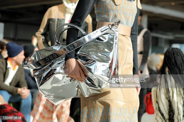A model bag detail walks the runway during the Longchamp FW20 show at Hudson Commons on February 08 2020 in New York City