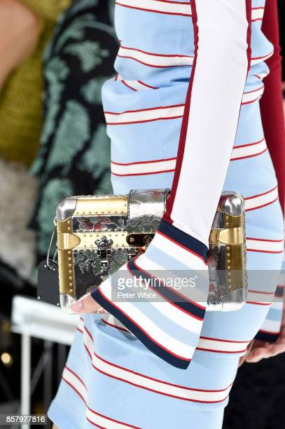 A model bag detail walks the runway during the Louis Vuitton Paris show as part of the Paris Fashion Week Womenswear Spring/Summer 2018 on October 3...
