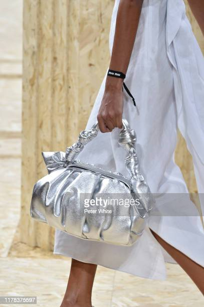 A model bag detail walks the runway during the Miu Miu Womenswear Spring/Summer 2020 show as part of Paris Fashion Week on October 01 2019 in Paris...