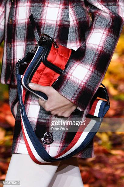 A model bag detail walks the runway during the Moncler Gamme Rouge show as part of the Paris Fashion Week Womenswear Fall/Winter 2017/2018 on March 7...