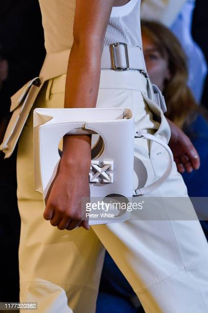 A model bag detail walks the runway during the OffWhite Womenswear Spring/Summer 2020 show as part of Paris Fashion Week on September 26 2019 in...